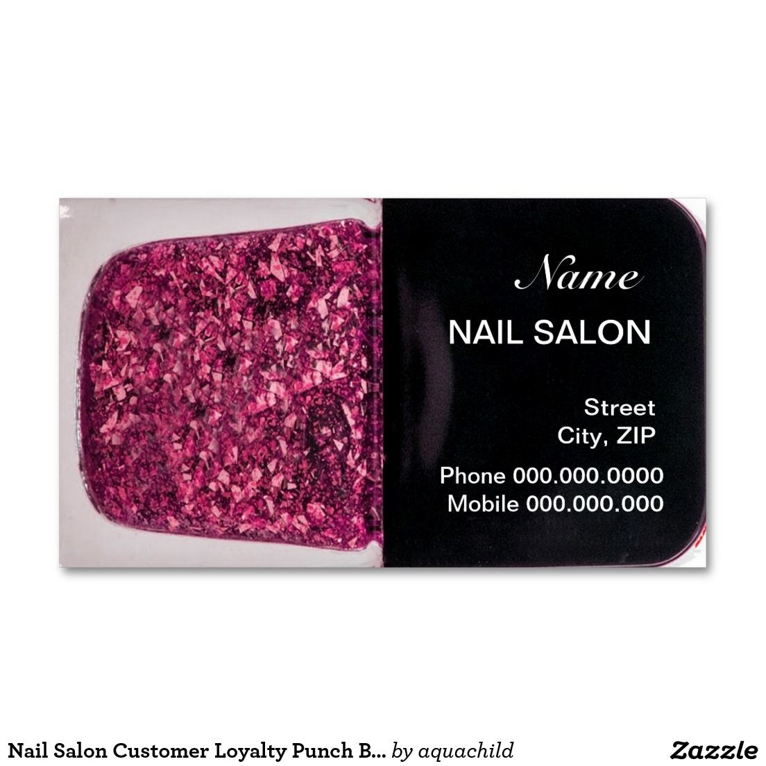 Nail Salon Customer Loyalty Punch Business Card