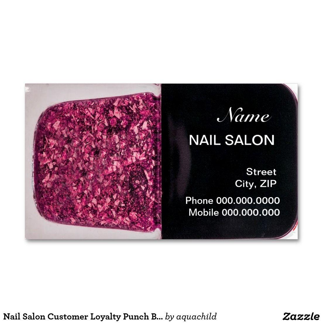 Nail Salon Customer Loyalty Punch Business Card | Customized Nail ...