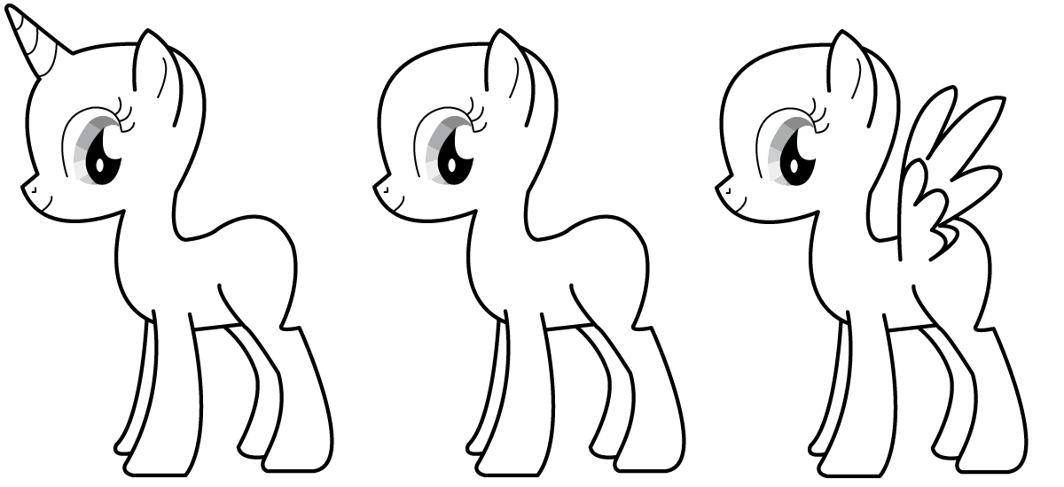 can be used for pc or printing to draw your own pony base pony sheet for drawing