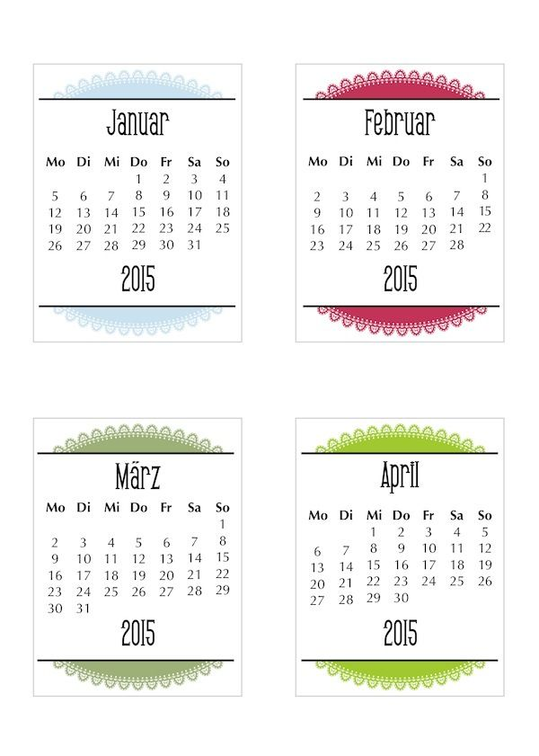 2015 Doily Calendar \u2013 German Printable calendars, Filofax and Planners