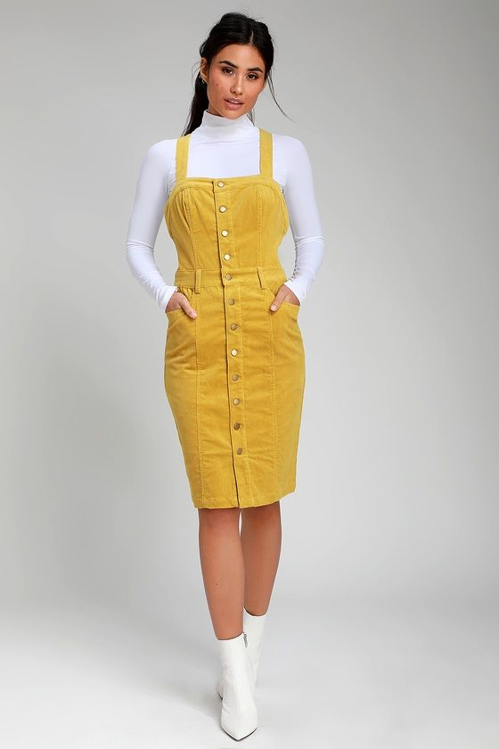 0aa6a9430be Bend the Rules Yellow Corduroy Button-Front Midi Dress
