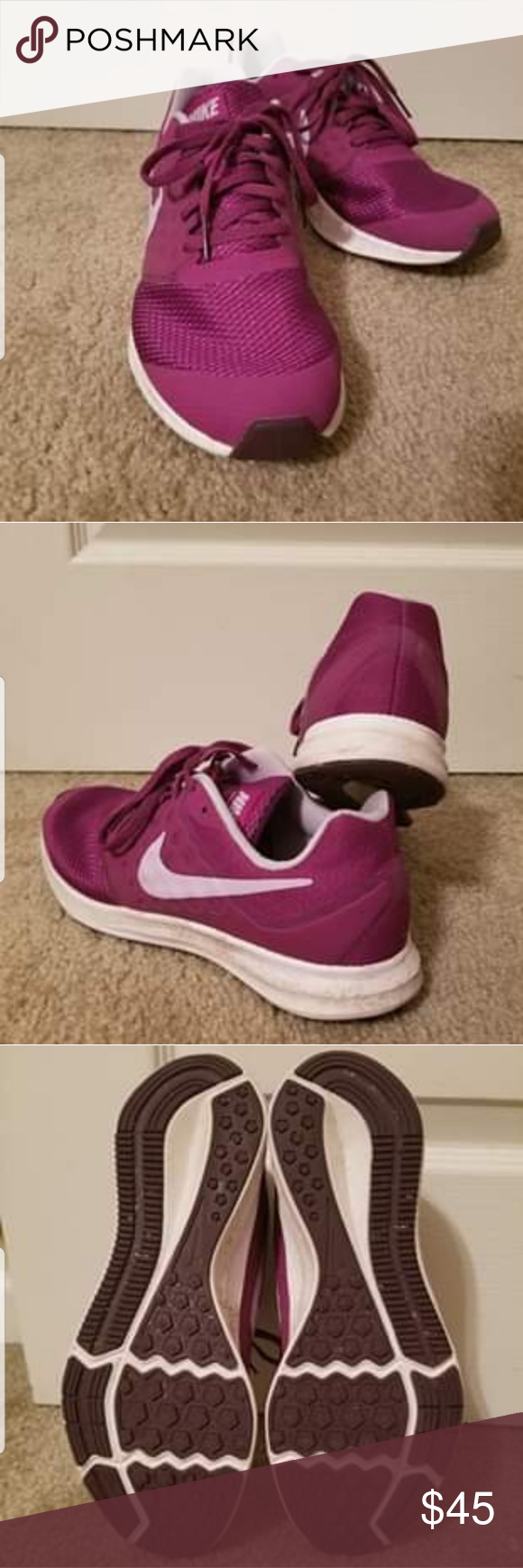 Bright purple Nike tennis shoes These bright tennis shoes are sure to get attent