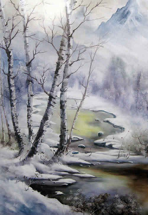 Chinese Art 刀画艺术 Winter Landscape Christmas Snow Mountain River Colorful Landscape Paintings Contemporary Landscape Painting Watercolor Landscape Paintings