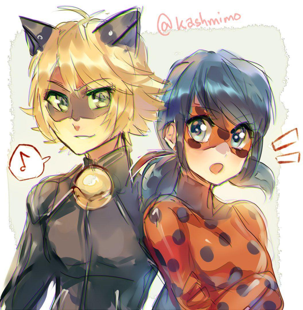 Фото леди баг и супер кот в стиле аниме