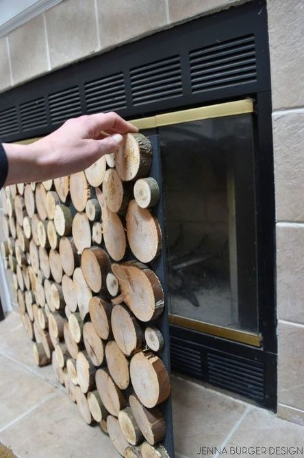 Photo of Faux Stacked Log Fireplace Screen