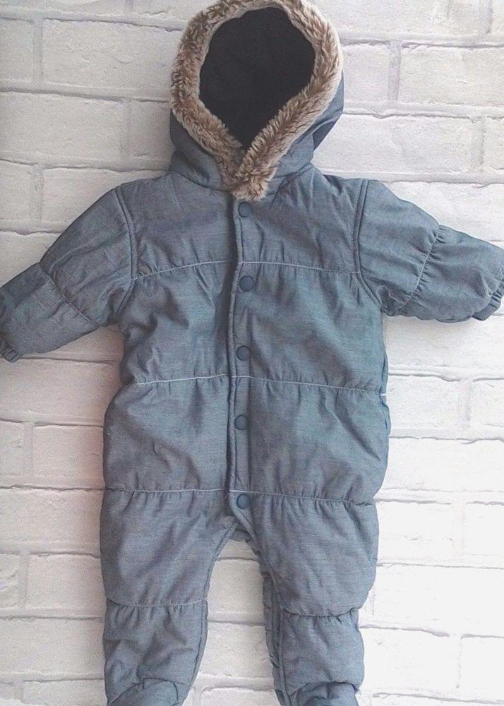 57472d17d Next Baby Boys Blue Padded Snowsuit Fleece Lined Hood with Faux Fur Trim  0-3M #NEXT #Snowsuit