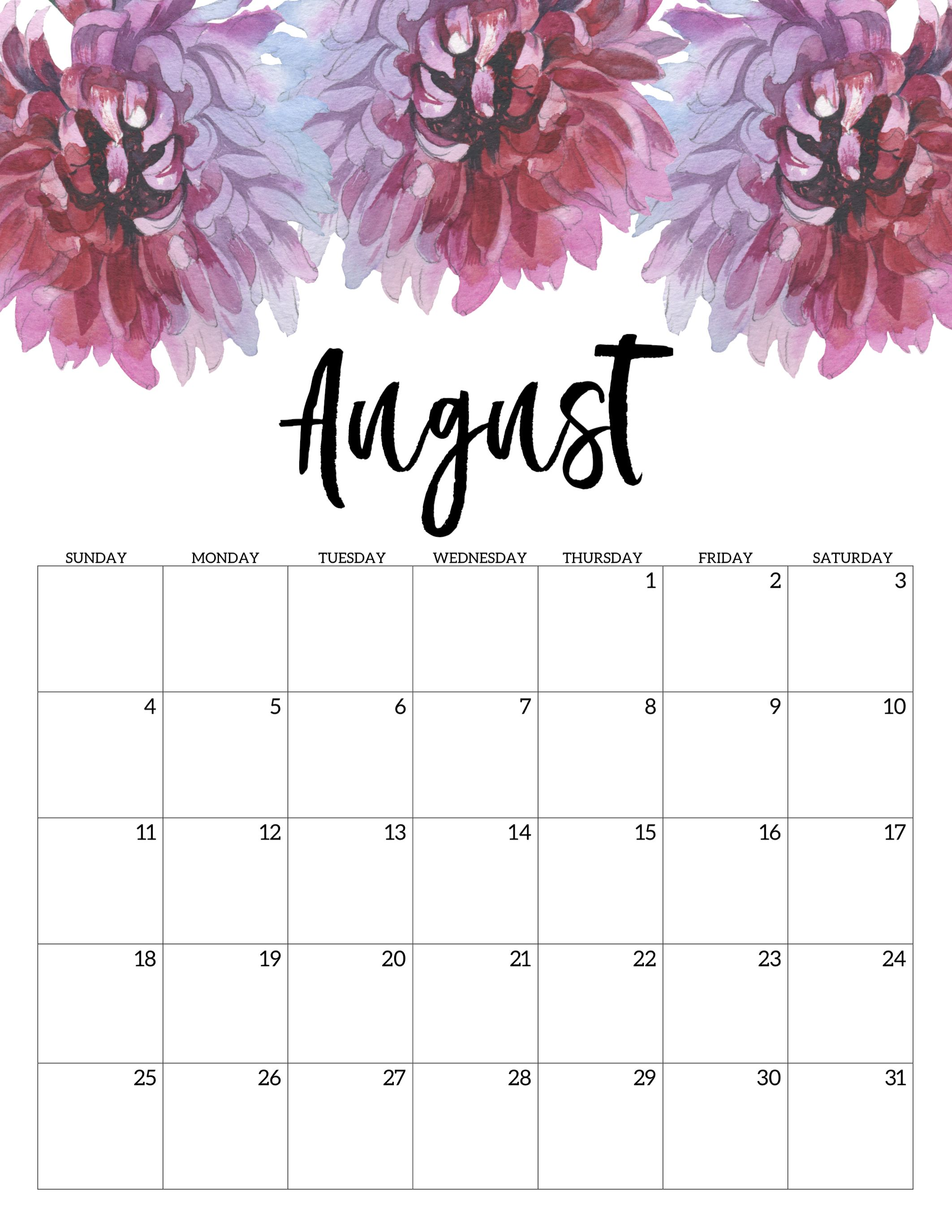 graphic regarding Printable Monthly Calendar August named August 2019 Floral Calendar #august #august2019