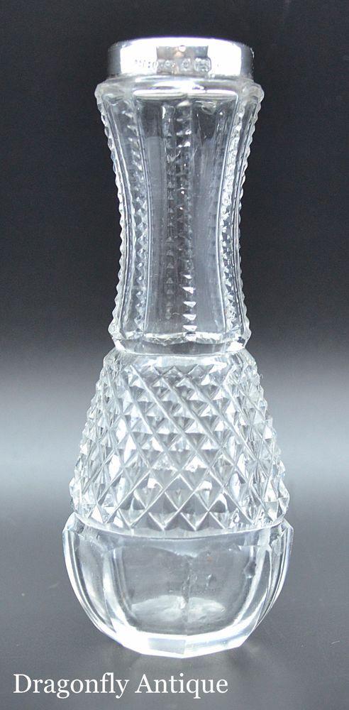 Superb Antique Solid Silver Rimmed Cut Glass Bud Vase Henry Hobson