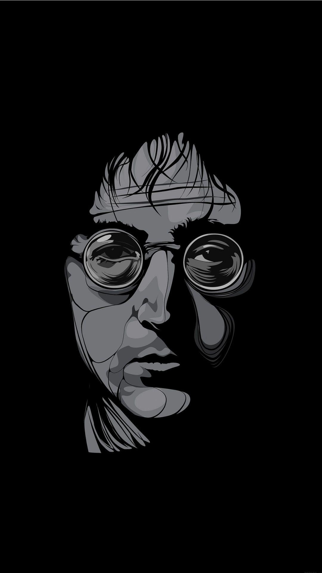 John Lennon Male Celebrity Black And White Wallpaper For IPhone