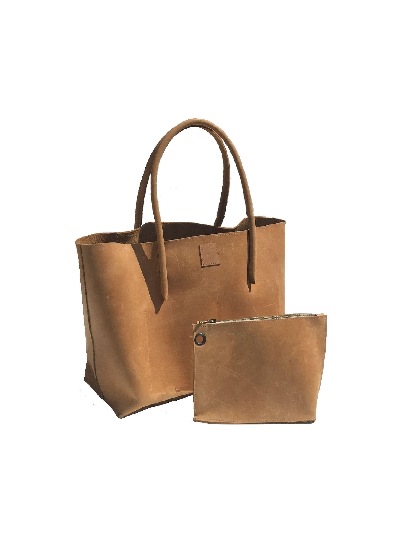 b686510f01246 große Ledertasche Shopper mit Reißverschlusstasche Einkaufstasche  Ledereinkaufstasche Tasche used look Vintage- Design handmade