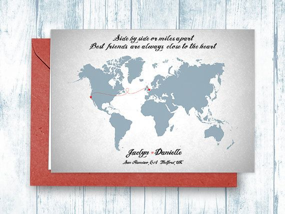 Card long distance relationship map greeting card custom card card long distance relationship map greeting card custom card friendship gift personalized 5x7 in125x18 cm m4hsunfo