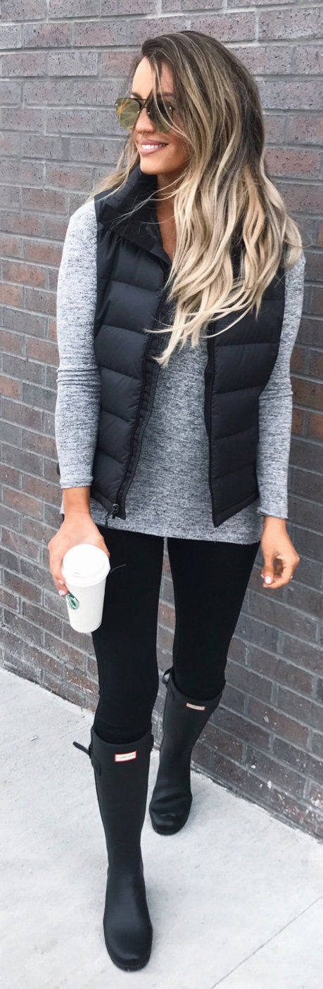 #spring #fashion / Black Puff Jacket / Grey Knit / Black Skinny Jeans / Black Boots