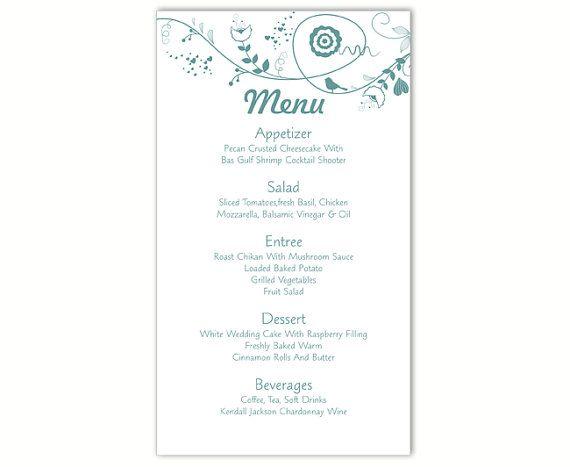 Wedding Menu Template DIY Menu Card Download Blue Menu