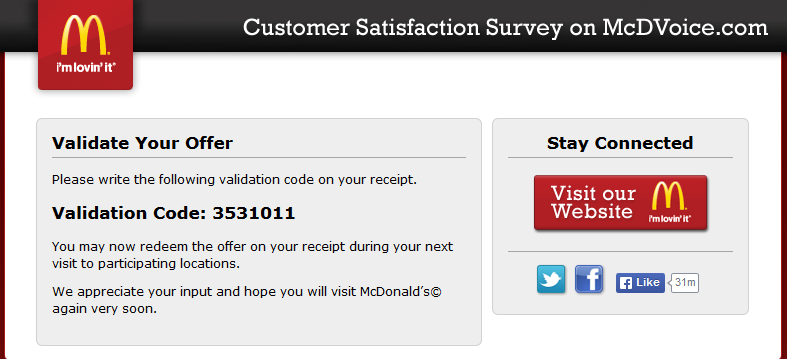 Use This Validation Code To Redeem Your McdonaldS Offer Nowo