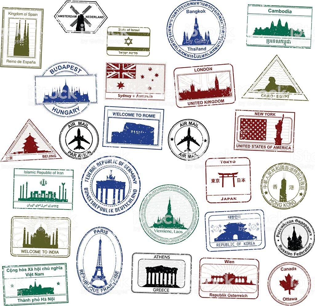 Selection Of Detailed Passport Stamps Passport Stamps Stamp Free Vector Art