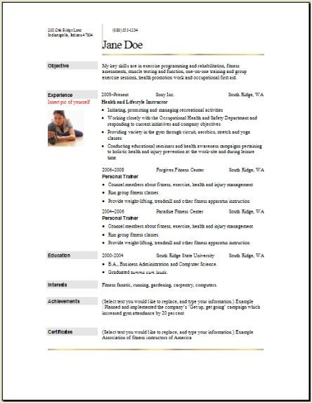 Sports Fitness Resume2 Resume Examples Student Resume Template Cover Letter For Resume