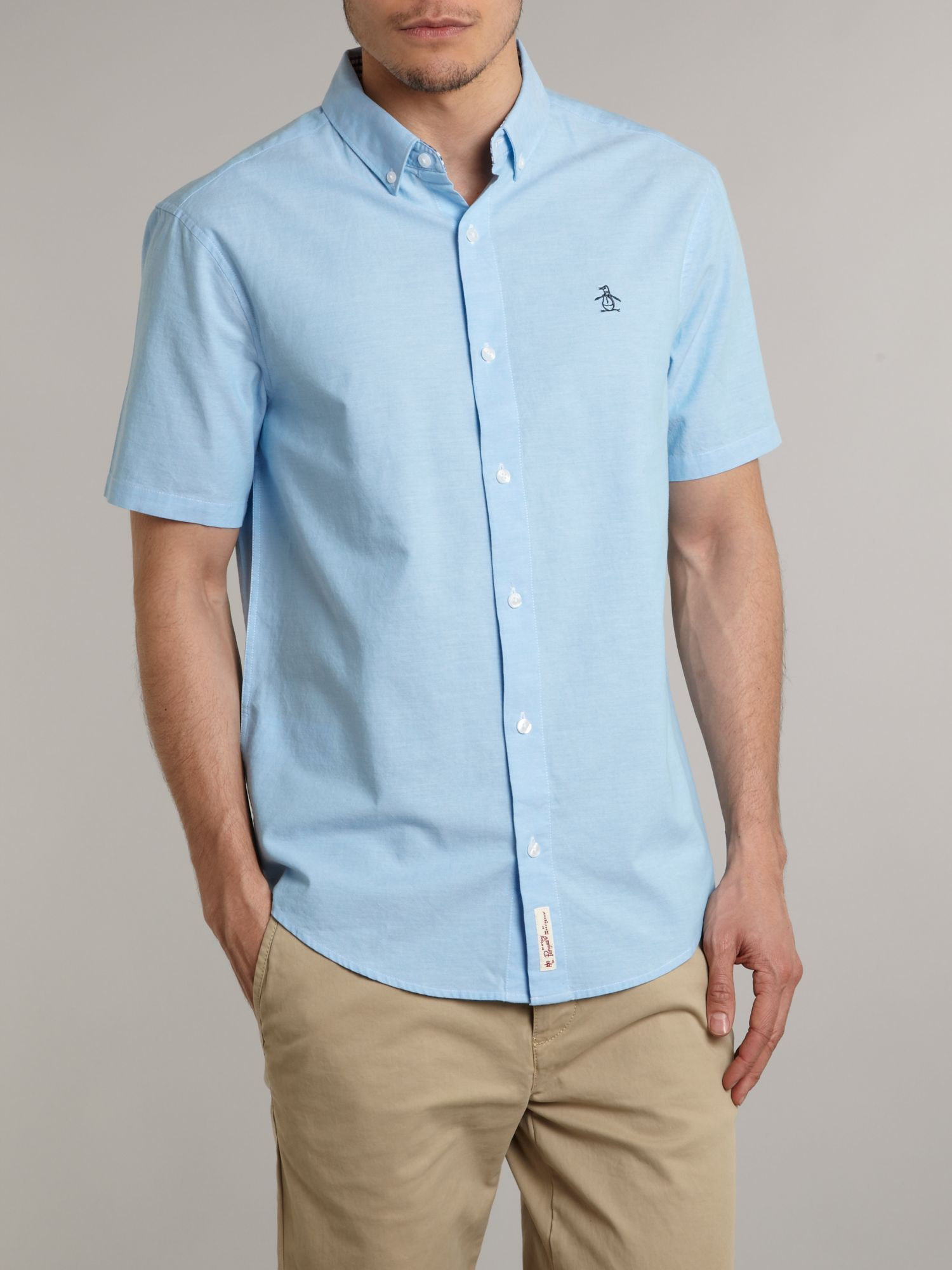 Original penguin Long Sleeve Straight Up Oxford Shirt in Blue for