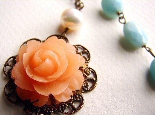 """Peach+Rose+and+Aqua+Mint+necklace,+Wedding+Necklace,+Bridesmaid+Jewelry+Set+Bridesmaid+Necklace,+Floral+Accessories""+-+$64"