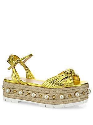 59b727a975b8 Gucci Barbette Metallic Leather Studded Platform Sandals