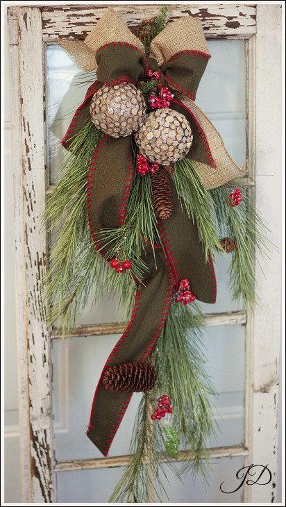 christmas 32 pine door swag by jenniferdecorates on etsy 9500