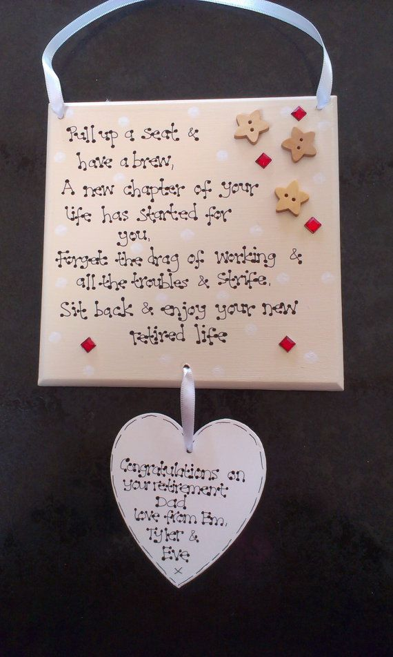 Personalised Retirement Gift Plaque Work Friend New Job