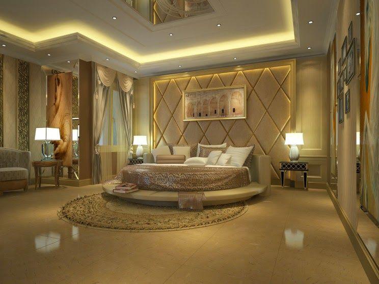 Luxury Master Bedroom Interior Design With Cream Ceramics Flooring And Round Melrose Area Luxury Master Bedroom Design Luxury Bedroom Master Luxurious Bedrooms