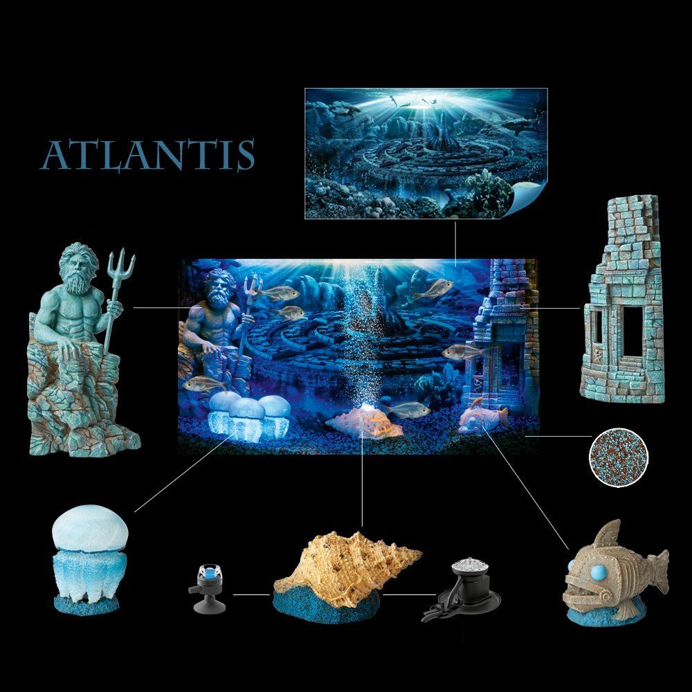 Hydor h2show atlantis background with for Fish tank decorations amazon