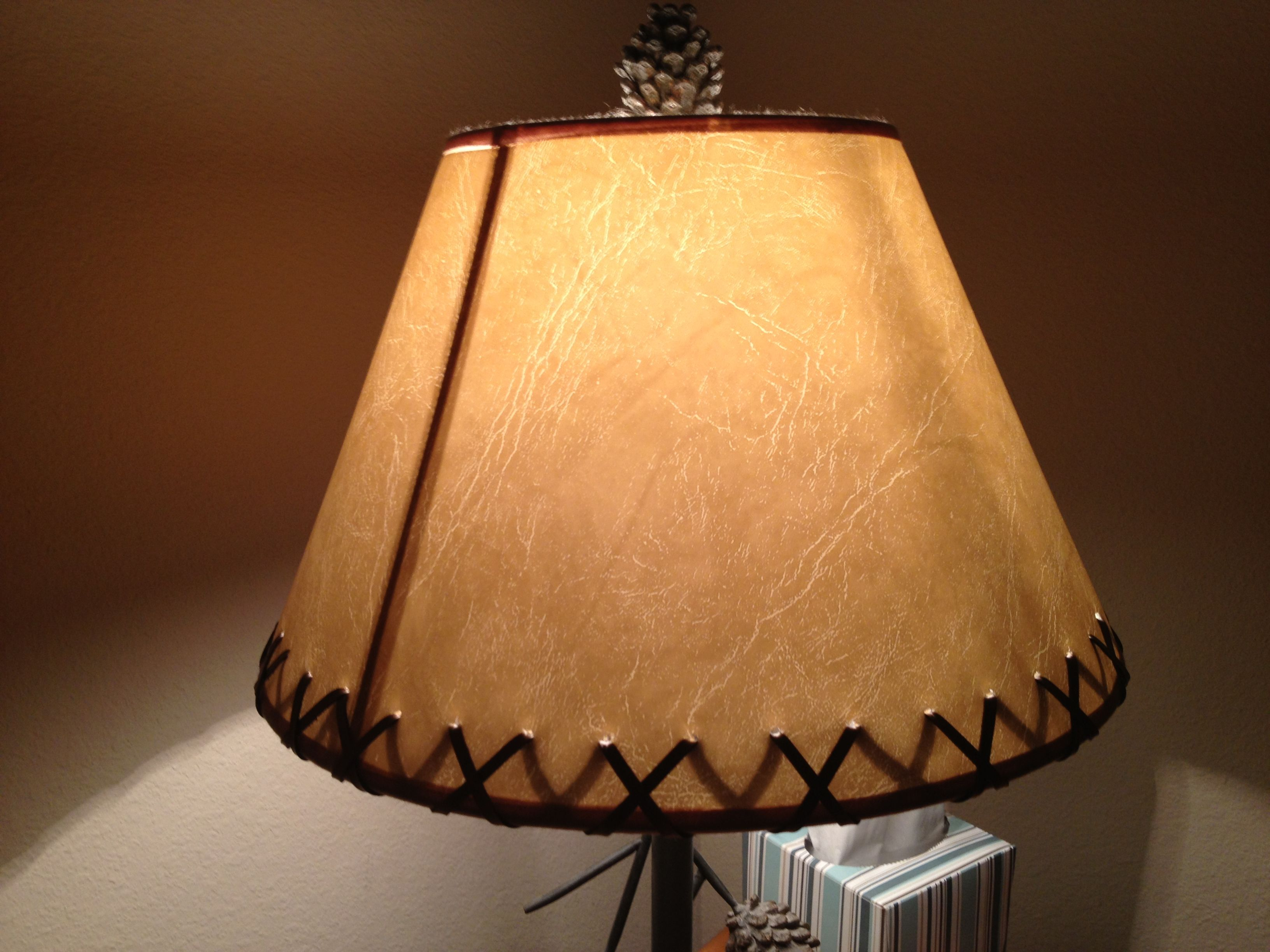 Punch Holes In Your Lampshade An Thread Leather Through It