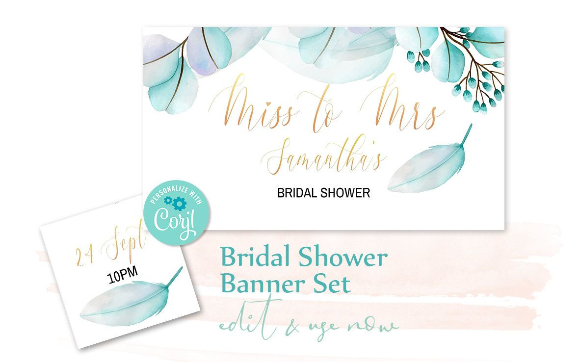 Bridal Shower Banner Set Miss To Mrs Facebook Event Cover And Profile Image Watercolor Blue Leaves And Feathers Shower Banners Bridal Shower Banner Facebook Event
