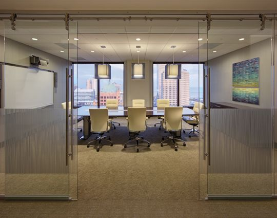 Conference Room With Sliding Glass Barn Doors Commercial