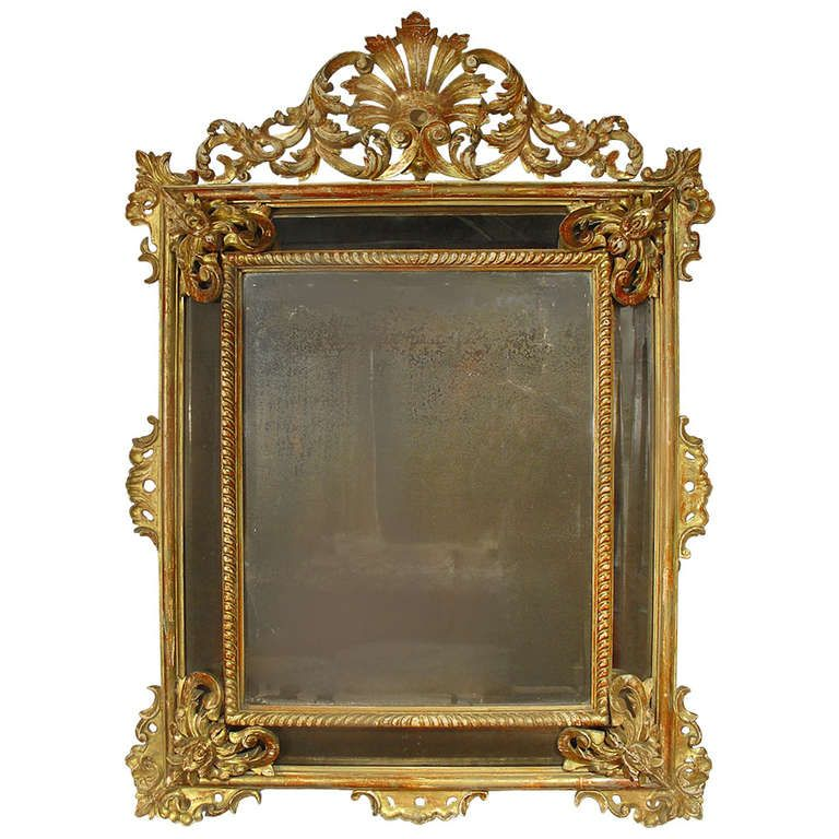 """Large Giltwood 19th Century Louis XV Style Mirror """"PareCloses"""" 