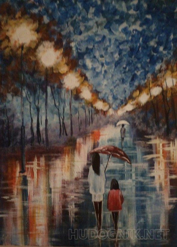Дождливый вечер (с изображениями) | Импрессионизм ...  Дождливый Город Картина