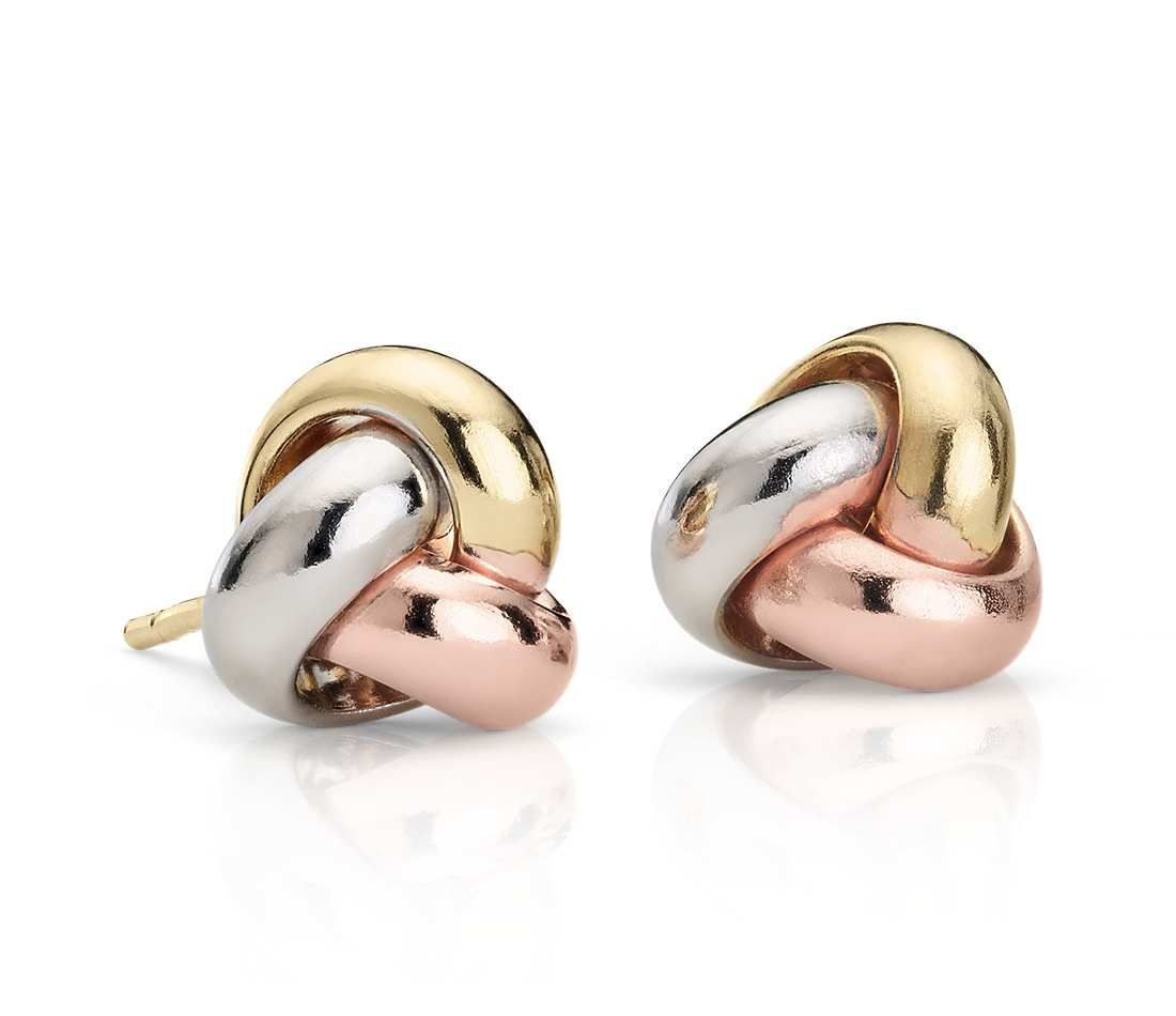Wear These Tricolor Love Knot Earrings With Any Look Sculpted From Hollow White Rose And Yellow Gold Links Into A Polished Pee Push