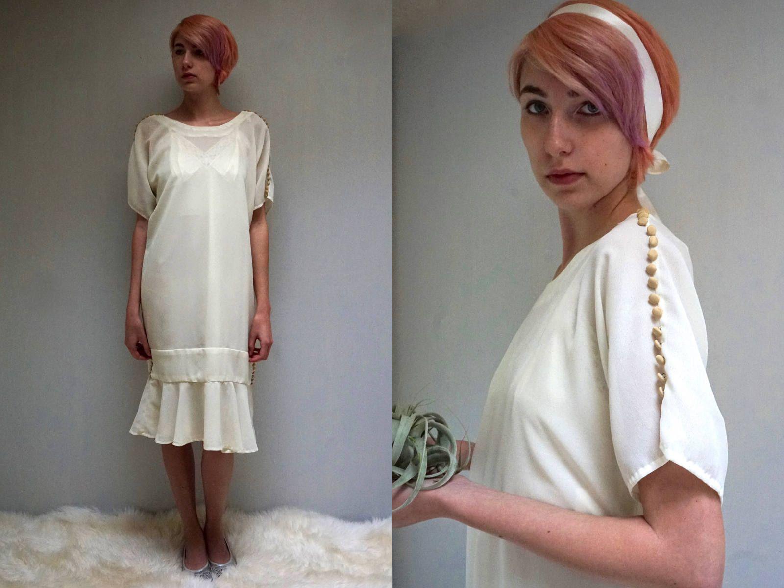 Drop Waist Dress // Ivory Wedding Dress // 20s Style Dress