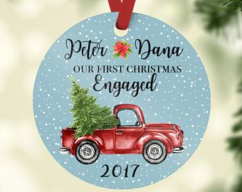 engagement gift personalized engagement ornament christmas red truck engaged ornament engaged couple gift first christmas engaged gift