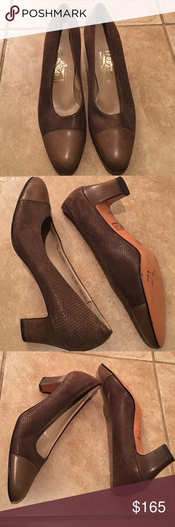 Brown Salvatore Ferragamo Heels *Used* brown Salvatore Ferragamo 2 inch heel pumps. Features leather & suede. Made in Italy. See photos for wear. PLEASE NOTE: The serial number shows a size 10, but when comparing to other shoes it seems to be a size 9. I can provide inch measurements if needed. ✨BUNDLE+SAVE✨ Salvatore Ferragamo Shoes Heels