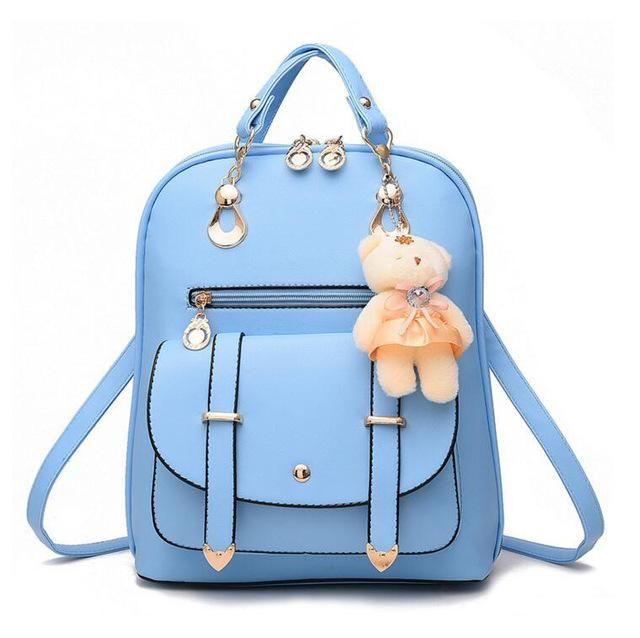 51f518cb97 Women PU Leather Casual Fashion Daily Use Teddy Charm Backpacks ...