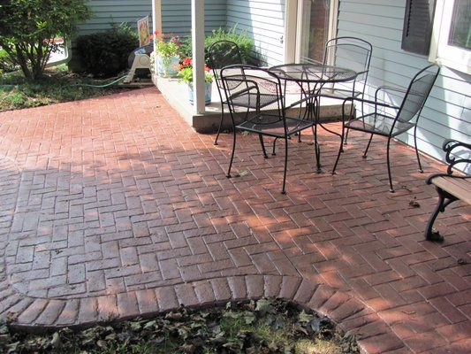 Concrete With Brick Border Herringbone With Brick Border Stamped