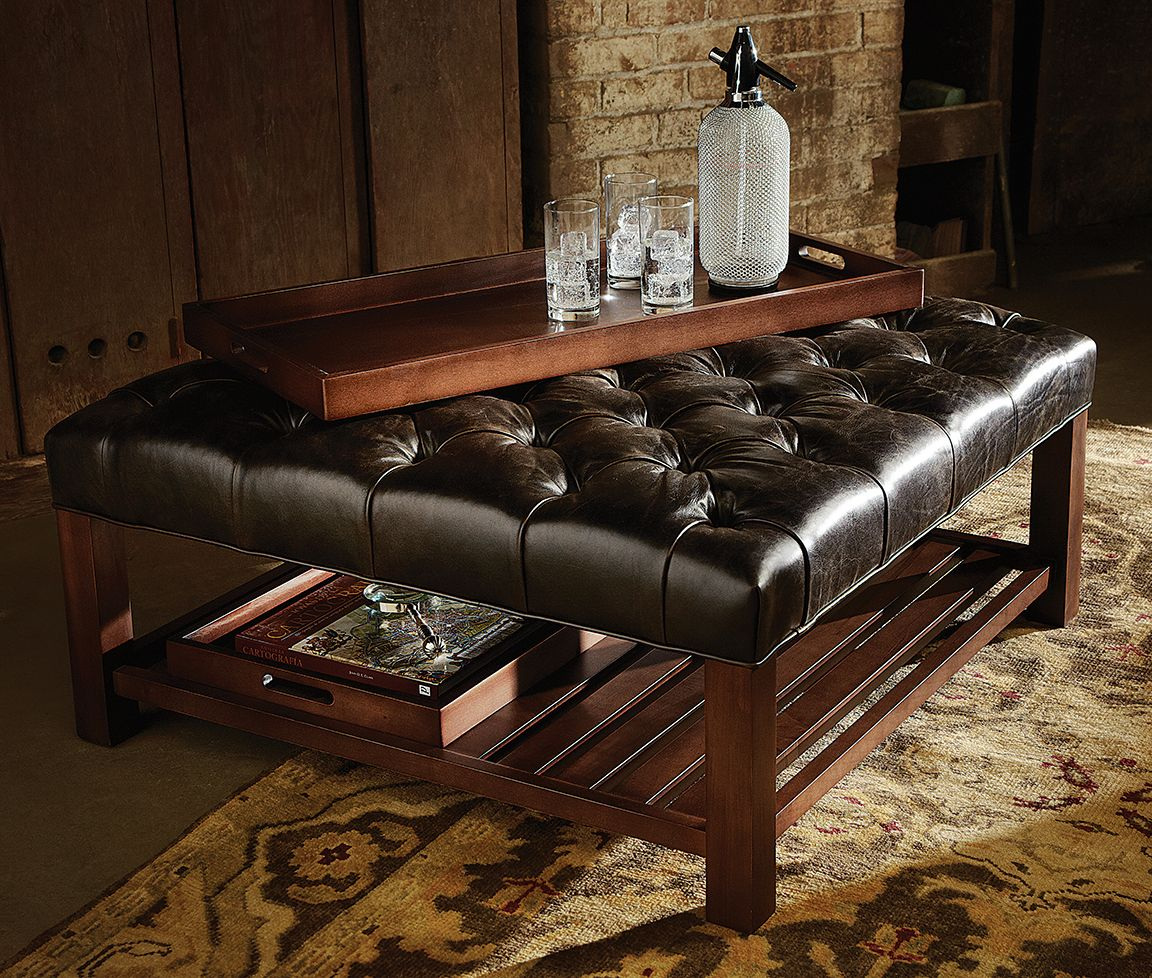 Arhaus Furniture Stylish And Versatile This Cleverly Designed Piece Features A Solid Wood Frame And A Thickly Tufted Leather Ottoman Leather Ottoman Ottoman [ 978 x 1152 Pixel ]