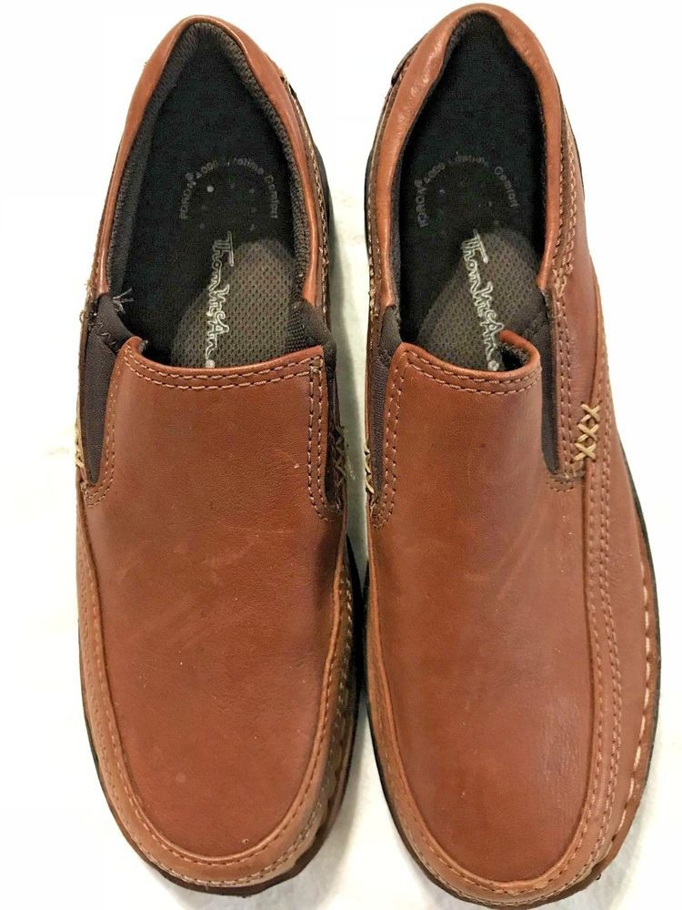 e6c0a68b5a6 Thom Mcan Leather Loafers Womens Size 8 Brown Poron 4000 Flat Comfort Shoes   ThomMcan  Comfort  Casual