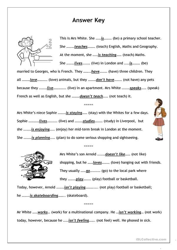 No Frills Worksheet For All Ages Present Simple Vs Present Continuous Reading Comprehension Worksheets English Language Teaching English Grammar Worksheets