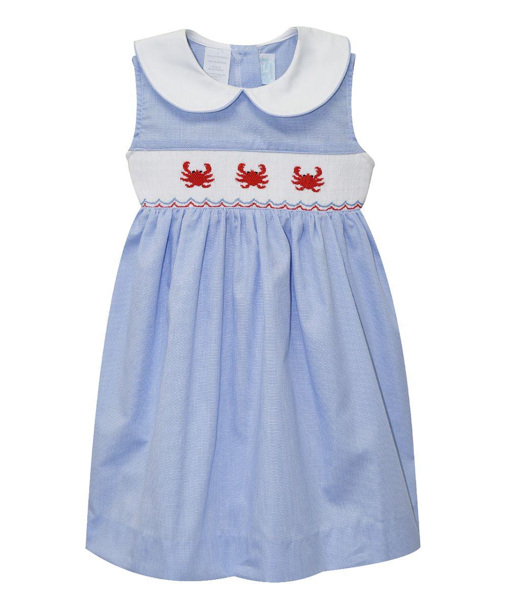 Blue Smocked Crab Dress - Infant & Toddler