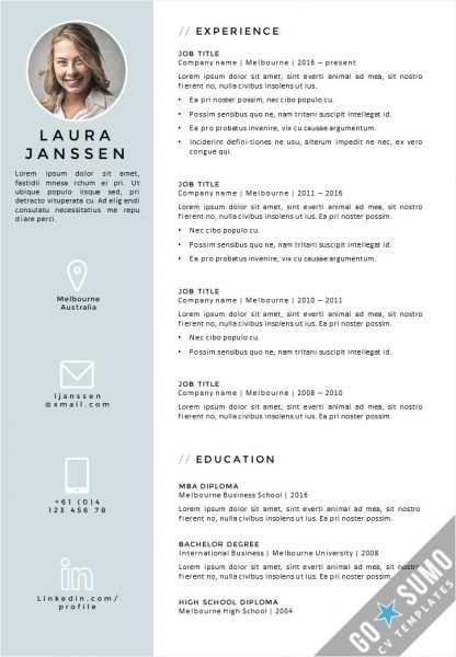 Creative cv   resume template in Word, fully editable, direct - editable resume templates