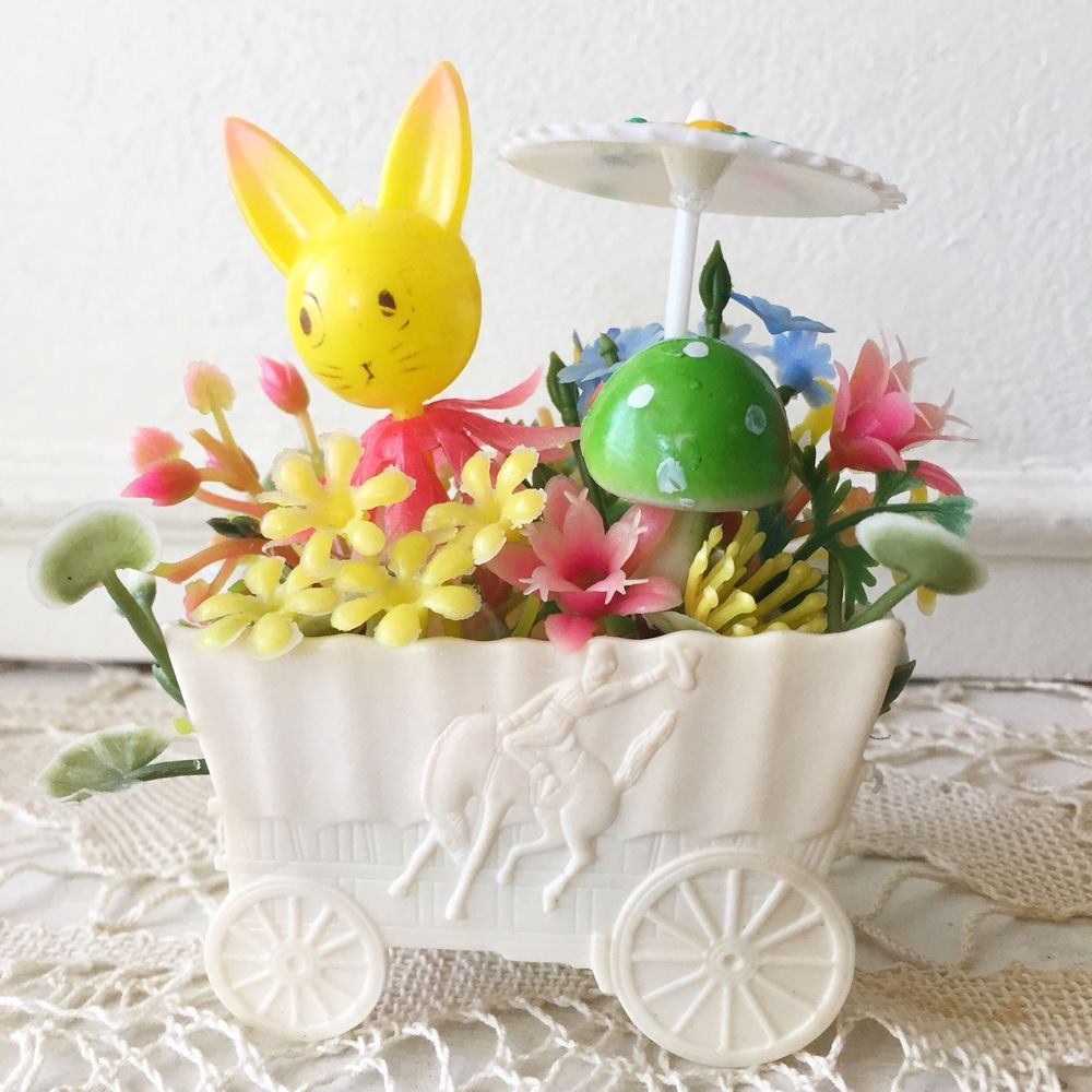Vintage Happy Easter Kitsch Plastic Basket Bunny Rabbit Figurine