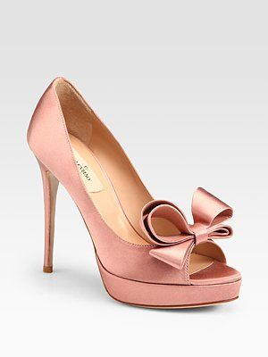 ed0a8ea0d7258 Valentino Satin Bow Platform Pumps in Blush. I don't normally like pink  things, but these are pretty.