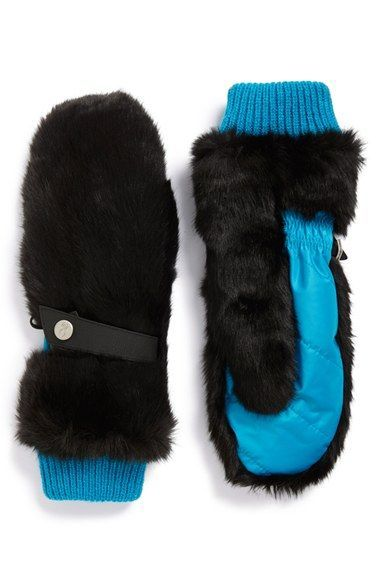 Spyder Faux Fur Trim Mittens available at #Nordstrom