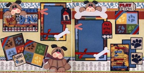 Bad to The Bone 2 Premade Scrapbook Pages Dog Puppy 12x12 Paper Piecing Cherry…