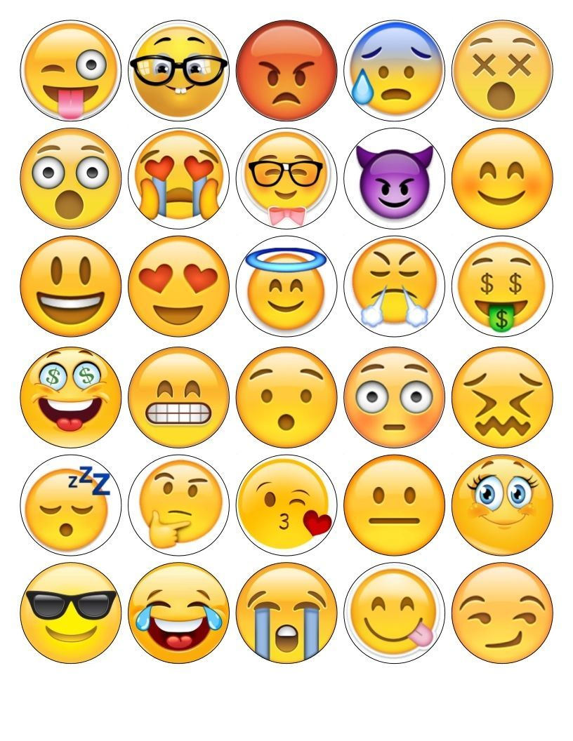 30x Emoji Faces 30 Different Images Edible Fondant Wafer Fairy Cupcake Toppers Emoji Faces Emoji Fairy Cupcakes