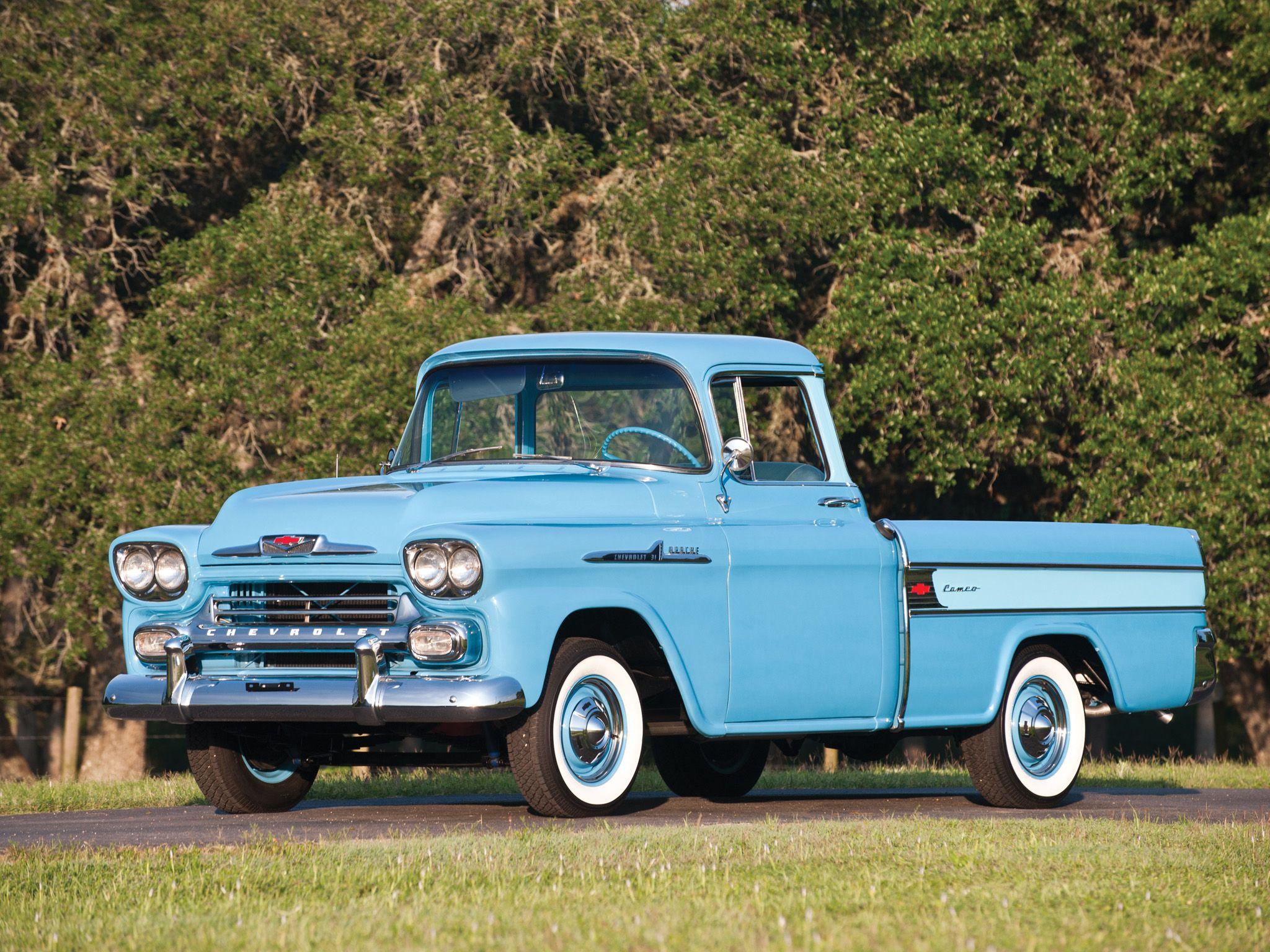 Chevrolet Apache 31 Cameo Fleetside 1958 Wallpaper 239 Old Pickup Trucks Classic Cars Trucks Pickup Trucks