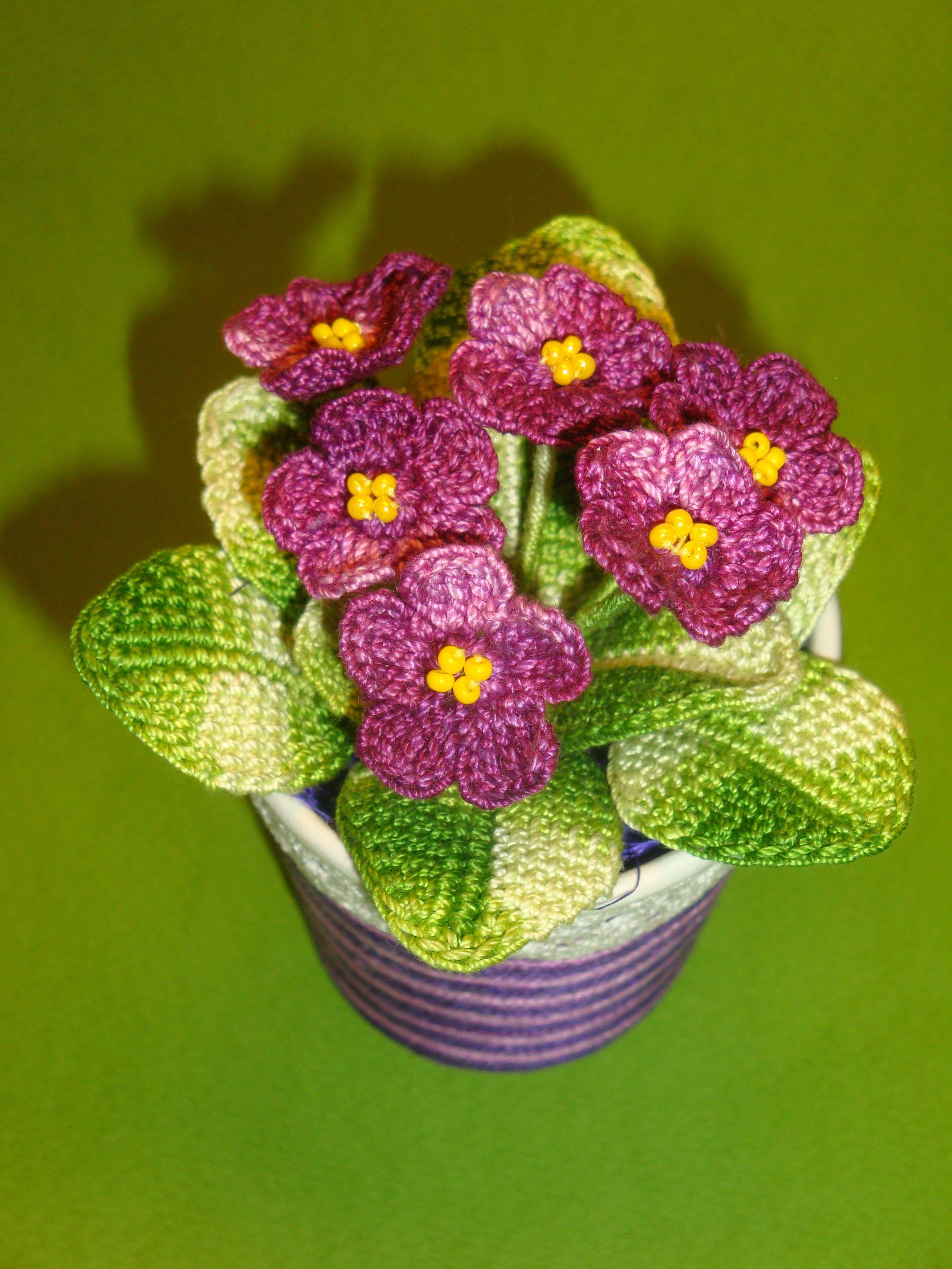 Фіалка у горщику. Квіти та листя в язані 3bd4fac00d863